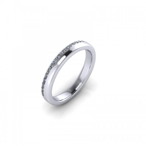 Platinum 0.20ct Diamond Pave Set Wedding Ring