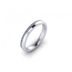 9ct White Gold 0.20ct Diamond Pave Set Wedding Ring