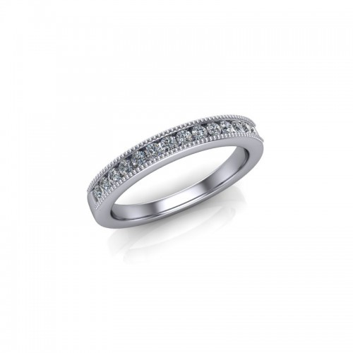 Platinum 0.20ct Diamond Channel Set Wedding Ring