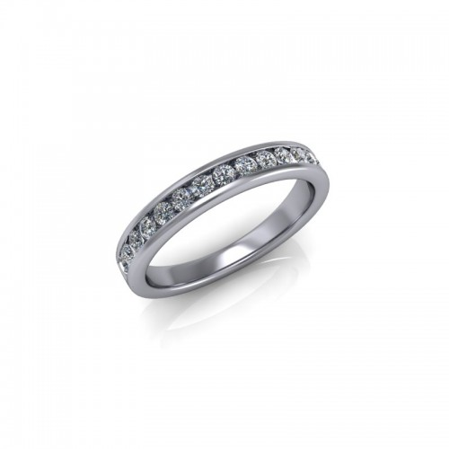 9ct White Gold 0.33ct Diamond Channel Set Wedding Ring