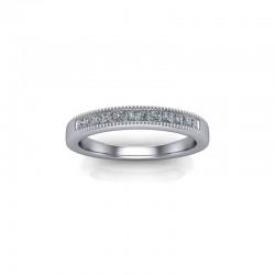 18ct White Gold 0.20ct Princess Diamond Channel Set Wedding Ring
