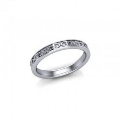 18ct White Gold 0.20ct Celtic Design Diamond Set Wedding Ring