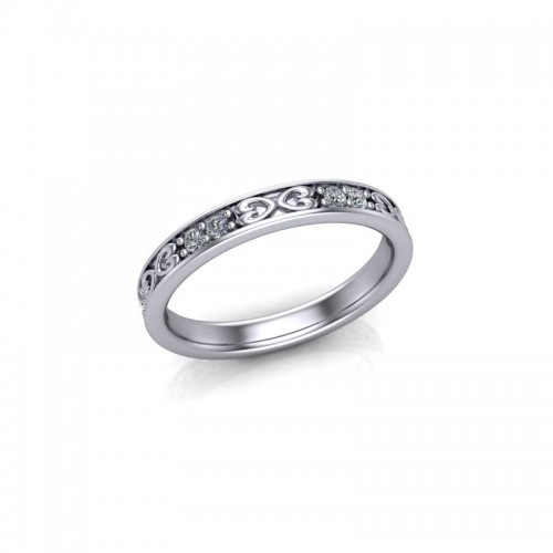 18ct White Gold 0.20ct Celtic Design Diamond Set Wedding Ring