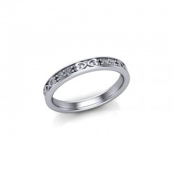 9ct White Gold 0.20ct Celtic Design Diamond Set Wedding Ring
