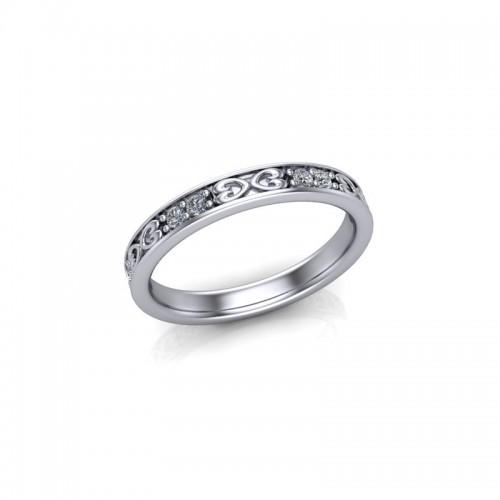 9ct White Gold 0.20ct Celtic Design Diamond Set Wedding Ring