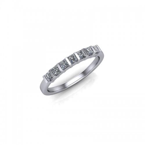 Platinum 0.35ct Princess Diamond Set Wedding Ring