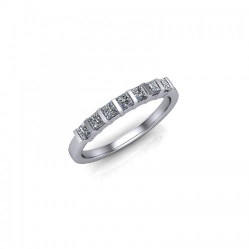 18ct Yellow Gold 0.35ct Princess Diamond Set Wedding Ring