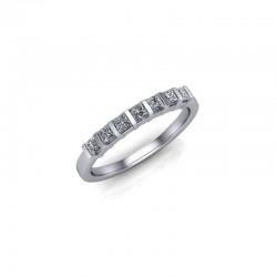 9ct White Gold 0.35ct Princess Diamond Set Wedding Ring