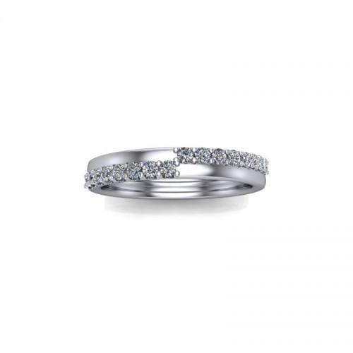 9ct White Gold 0.25ct Diamond Pave Set Wedding Ring