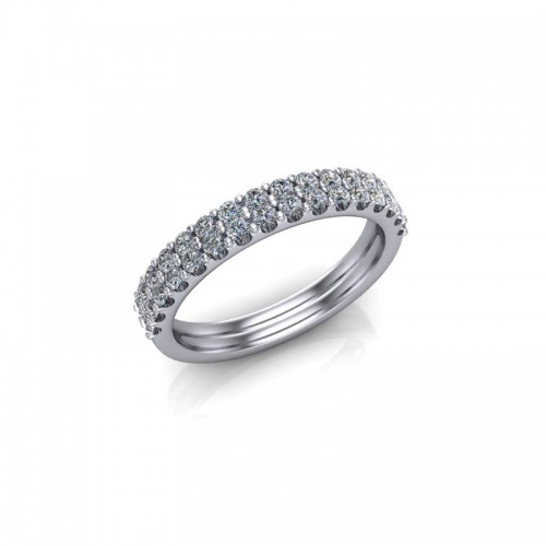 9ct White Gold 0.50ct Diamond Claw Set Wedding Ring