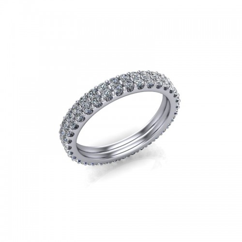 9ct White Gold 1.00ct Diamond Claw Set Wedding Ring