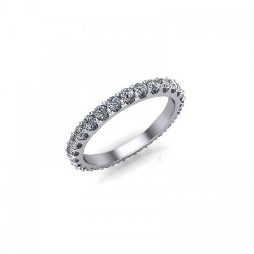 18ct White Gold 0.75ct Diamond Claw Set Wedding Ring