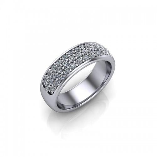 Platinum 0.50ct Diamond Pave Set Wedding Ring