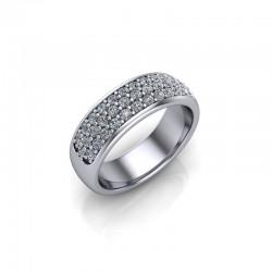 9ct White Gold 0.50ct Diamond Pave Set Wedding Ring