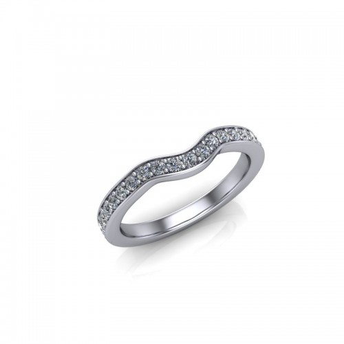 Platinum 0.25ct Diamond Pave Set Wedding Ring