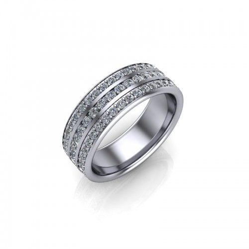 9ct White Gold 1.50ct Diamond Channel Set Wedding Ring