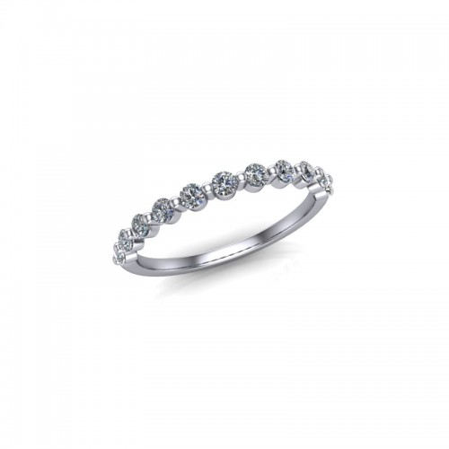 Platinum 0.33ct Diamond Rub Set Wedding Ring