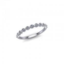 9ct White Gold 0.33ct Diamond Rub Set Wedding Ring