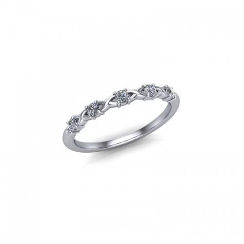 9ct White Gold 0.15ct Diamond Claw Set Wedding Ring