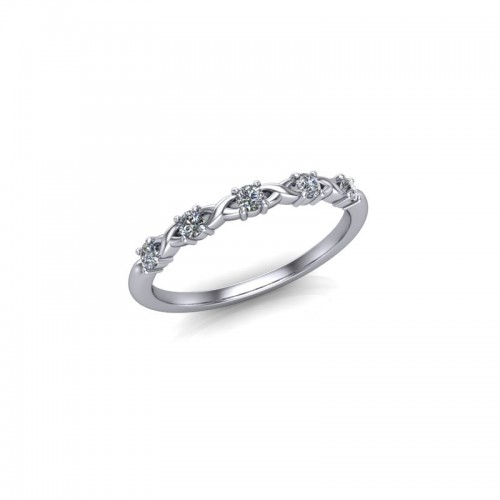 18ct White Gold 0.15ct Diamond Claw Set Wedding Ring