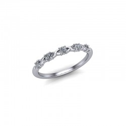 9ct White Gold 0.15ct Diamond Claw Set Wedding Ring