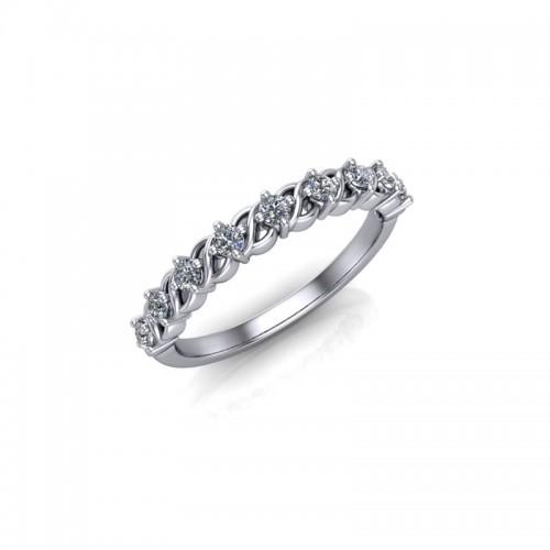 9ct White Gold 0.25ct Diamond Claw Set Wedding Ring