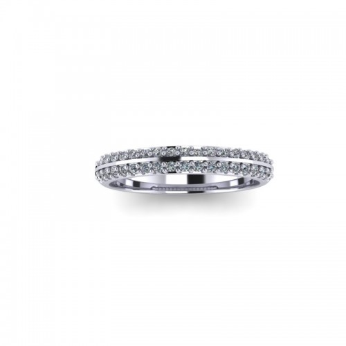 9ct White Gold 0.25ct Diamond Pave Set Wedding Ring