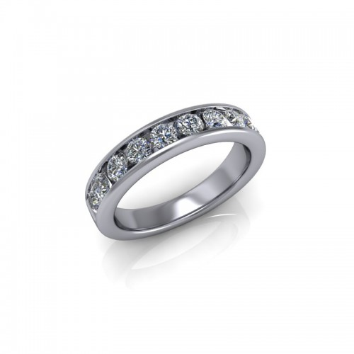 9ct White Gold 0.75ct Diamond Channel Set Wedding Ring