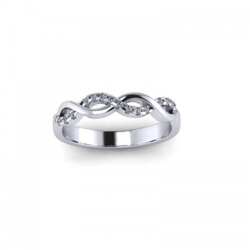 18ct White Gold 0.10ct Diamond Claw Set Wedding Ring