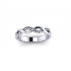 9ct White Gold 0.10ct Diamond Claw Set Wedding Ring