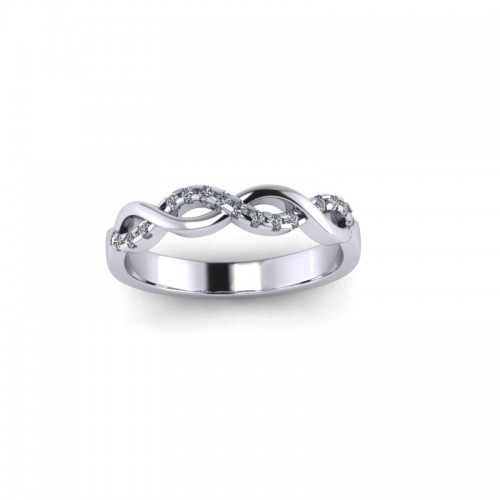 Platinum 0.10ct Diamond Claw Set Wedding Ring