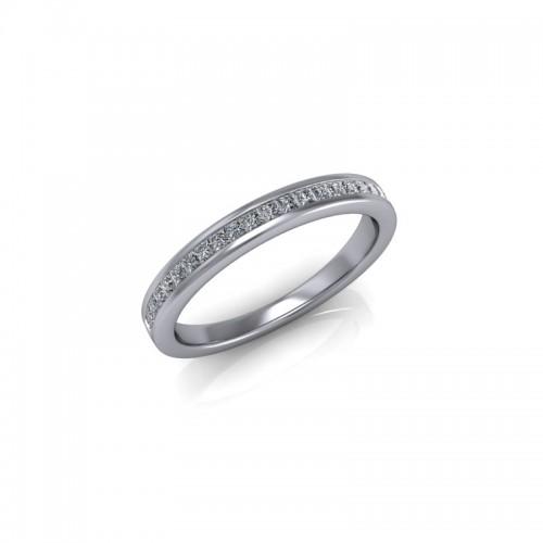 18ct White Gold 0.25ct Princess Diamond Channel Set Wedding Ring
