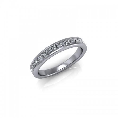 9ct White Gold 0.50ct Princess Diamond Channel Set Wedding Ring