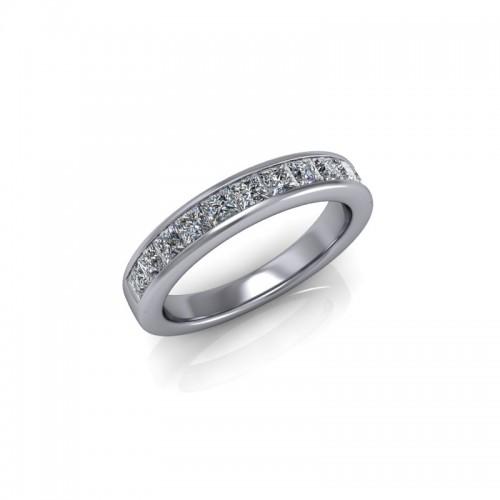 9ct White Gold 0.75ct Princess Diamond Channel Set Wedding Ring