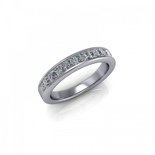 18ct White Gold 0.75ct Princess Diamond Channel Set Wedding Ring