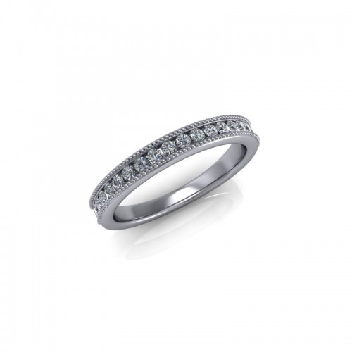 9ct White Gold 0.25ct Diamond Channel Set Wedding Ring